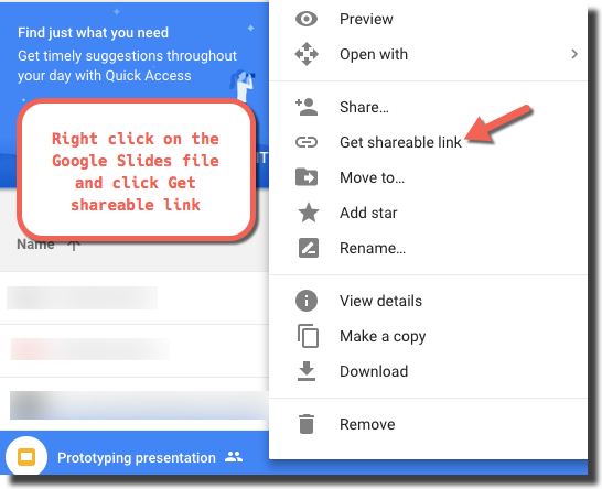 how to get the url for google slides to use in webpage app enplug